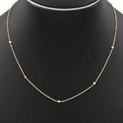 Collar Gargantilla oval realizada en oro amarillo de 750 milésimas (18kt) con 5 diamantes talla de brillante de 0,10 kts en total engastados en chatones de oro amarillo, con cierre de mosqueton