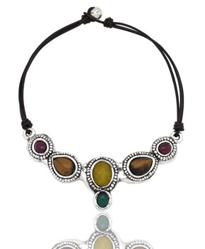 PURE SILVER CHOKER NECKLACE AND NATURAL STONES PPC114 Plata Pura