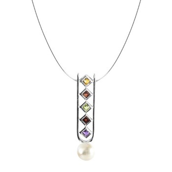 CHOKER NECKLACE SILVER AND QUARTZ OF COLORS