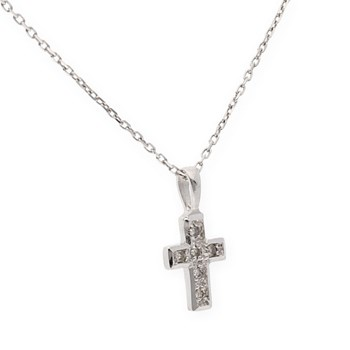 COLLAR CHOKER NECKLACE MADE IN WHITE GOLD 18 KT WITH CROSS AND DECORATED WITH 6 DIAMONDS BRILLIANT OF 0,15 KTS
