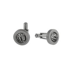 Gemelos de acero y bronce detalle logo skull rider 8434330093371