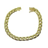 STUNNING BRACELET MENS 18K YELLOW GOLD SOLID DIAMOND CUT CURB 7MM WIDE AND 20.00 CM NEVER SAY NEVER
