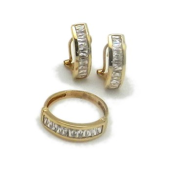 Combined set of EARRINGS and gold ring