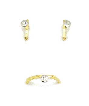 COMBINED GAME EARRINGS GOLD DIAMOND RING