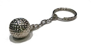 GOLF BALL SILVER KEYCHAIN