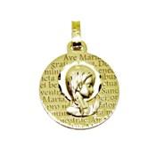Medalla para comunión de oro de 18ktes. 16mm. Never say never