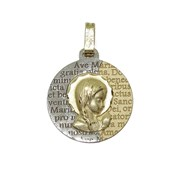 MEDAL FOR COMMUNION GOLD TWO-TONE 18KTES . 16MM NEVER SAY NEVER