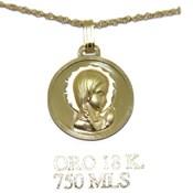 Medalla de oro amarillo de 18Ktes de 16mm y cadena de oro amarillo de 18ktes 40cm Never say never