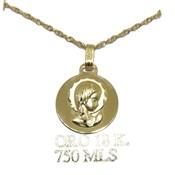 Medalla de oro amarillo de 18ktes Virgen niña y cadena de oro de 18Ktes 40cm Never say never