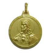 Medalla Escapulario de 20mm de oro amarillo de 18kts con la Virgen del Carmen y el Sagrado Corazón de Jesús  Never say never