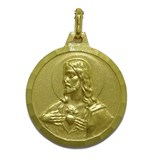 MEDAL SCAPULAR 20MM YELLOW GOLD 18KTS WITH THE VIRGIN OF CARMEN AND THE SACRED HEART OF JESUS, NEVER SAY NEVER