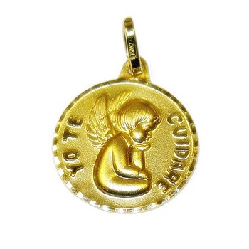 MEDAL FOR BABY OF GOLDEN YELLOW FROM 18KTES. 15 MM NEVER SAY NEVER