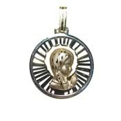 Medalla para niña de comunión de oro de 18Ktes con la Virgen Niña.18mm Never say never