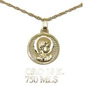 Medalla Virgen niña de 14mm de oro amarillo de 18ktes con cadena de oro de 18Ktes 40cm Never say never