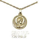 MEDAL VIRGIN GIRL 14MM YELLOW GOLD 18KTES WITH GOLD CHAIN OF 18KTES 40CM NEVER SAY NEVER