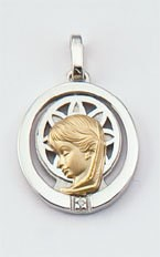 Medalla Oro 18k, Plata y Brillante  300-1 Finor