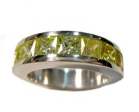RING Media Alliance silver and yellow stones B-79 A-866-amarillo