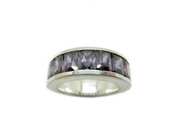 BAGUE argent Alliance Media et lilas pierres A-871-AMA B-79