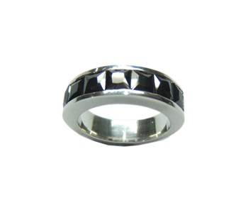 RING Media Alliance silver and black stones B-79 MN7