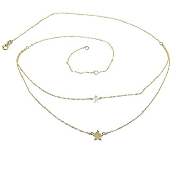 MODERN DOUBLE COLLAR IN 18K YELLOW GOLD WITH CHAIN MINI FORCED AND 2 STARS IN TWO HEIGHTS OF 4 NEVER SAY NEVER