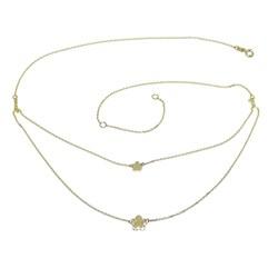 Moderno Collar Doble de Oro Amarillo de 18k con Cadena Mini Forzada y 2 Flores de 5 pétalos  Never say never