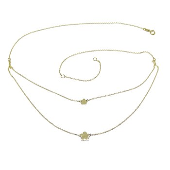 MODERN DOUBLE COLLAR IN 18K YELLOW GOLD WITH CHAIN MINI FORCED AND 2 FLOWERS OF 5 P�TALOS NEVER SAY NEVER