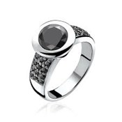 RING SILVER ZINZI RHODIUM-PLATED WITH LARGE CUBIC ZIRCONIA BLACK CENTRAL AND PAV� IN THE SIDE ZIR841Z