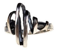 RING SILVER ORFEGA TAPE ZIG ZAG OXIDISED AND SATIN 0113274X