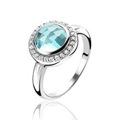 RING SILVER ZINZI RHODIUM-PLATED WITH LARGE CUBIC ZIRCONIA CENTRAL AQUAMARINE SURROUNDED BY ZIRCONS WHITE ZIR1085