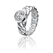 RING SILVER ZINZI RHODIUM-PLATED WITH LARGE CUBIC ZIRCONIA AND DISPLAYED IN THE FORM OF A LINK ZIR655