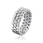 RING ZINZI SILVER RHODIUM-PLATED SHINE RING WITH 3 STRIPS AND ZIRCONS ZIR760-56