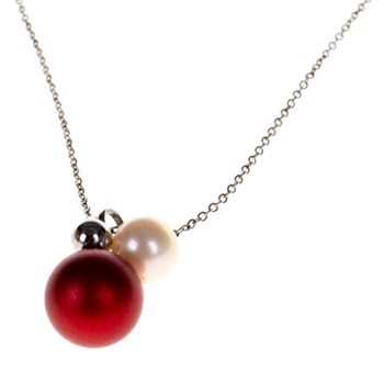 PENDANT STEEL AND ALUMIO ABUT RED BALL WITH PEARL ACCENTS AND STEEL 5.71