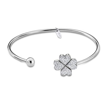 BRACELET LOTUS STEEL LUSTER OPEN WITH CLOVER FOUR LEAVES WITH ZIRCONS LS1785-2-1