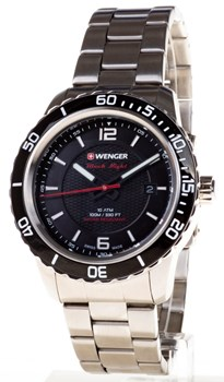 WATCH WENGER STEEL BLACK DIAL BOLTS FLORESCENTE, SAPPHIRE CRYSTAL 01.0851.122