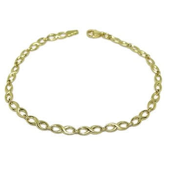 NEVER SAY NEVER BRACELET INFINITY YELLOW GOLD 18KTES MATTE AND GLOSS. 19CM