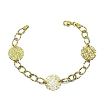 ORIGINAL BRACELET OF 18K YELLOW GOLD WITH CHAIN LINKS AND 3 CIRCLES COIN NEVER SAY NEVER