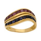 YELLOW GOLD 18 KT - RING - RUB�IS 0.80 KTS - SAPPHIRES OF 0.80 KTS - SIZE OF THE RING 15 (IS) DSC20013-5