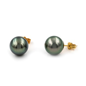 YELLOW GOLD 18K - 2-PEARL OF TAHITI CULTURED SALTWATER 10,00 MM - WEIGHT 3,70 GRAMS 10MM-PT