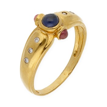 YELLOW GOLD 750 THOUSAND�SIMAS/18KT - RING - DIAMOND-BRILLIANT - RUB�IS ROUND-CUT - SAPPHIRE CENTRAL ROUND CUT - SIZE OF THE RING 15 (IS) 191.3238