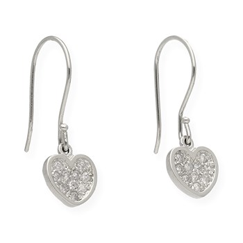 PAIR OF EARRINGS SHAPED HEART MADE IN WHITE GOLD 750 THOUSANDTHS (18KT) WITH 20 DIAMONDS BRILLIANT