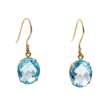 PAIR OF EARRINGS MADE IN WHITE GOLD 750 THOUSAND�CHASMS OF 18K WITH BLUE TOPAZES OVAL CARVED. M632A-4P-TA