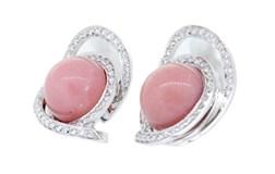 Pendientes Par pendientes oro blanco, opalo rosa y brillantes