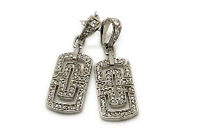 Silver rhodium-plated earrings