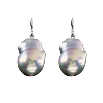EARRINGS BAROQUE CULTURED PEARL GREY