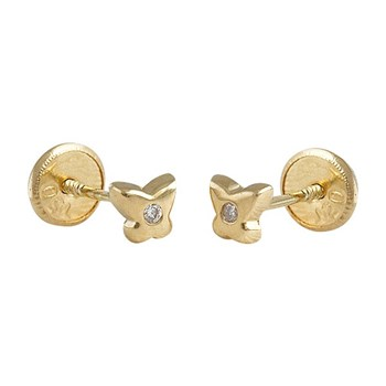 EARRINGS BABY LAW 18 K GOLD YELLOW WITH BRILLIANT 446468 O / Karammelo 446468 o/a