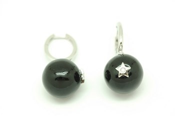 Enamel silver ball earrings. Alex Ball Pe147036