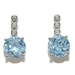 Pendientes con diamantes y de topacio azul con 0.07cts de diamantes y 5.20cts de topac.1.60cm largos Never say never