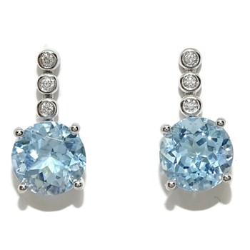 EARRINGS WITH DIAMONDS AND BLUE TOPAZ WITH 0.07 CTS OF DIAMONDS AND 5.20 CTS OF TOPAC.1.60 CM LONG Never say never