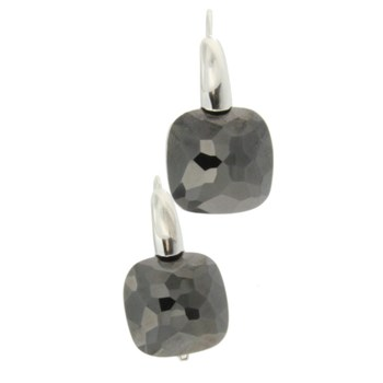 SILVER EARRINGS WITH ONYX STONE