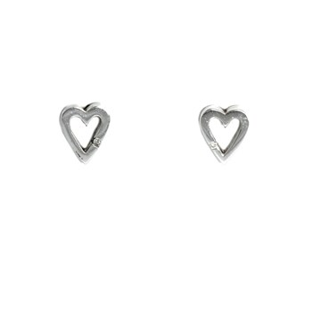 Boucles d\'oreilles coeur argentés et brillants 585DE008  Hot Diamonds